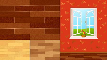 timbered: wood texture swatches for a home interior with window
