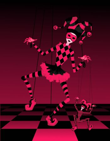 marionette: Cartoon court jester holds a marionette. Stock Photo