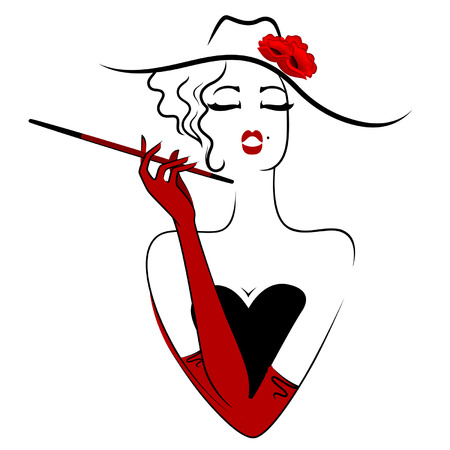 Vector charming lady in hat  smoking cigarette