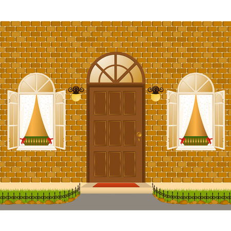 facade of house with windows Vector