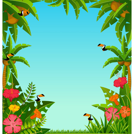 Background with tropical plants and parrots. Stock Vector - 8190325