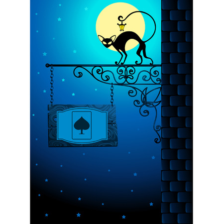 hanging lamp: Vector forged signboard with a black cat Illustration