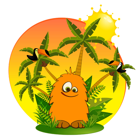 monkey suit: Funny little wild animal with parrots Illustration