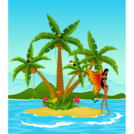 Pretty girl with butterfly wings on island with tropical palms. Vector