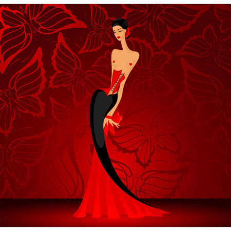 Vector charming lady in a red dress with butterflies Vector
