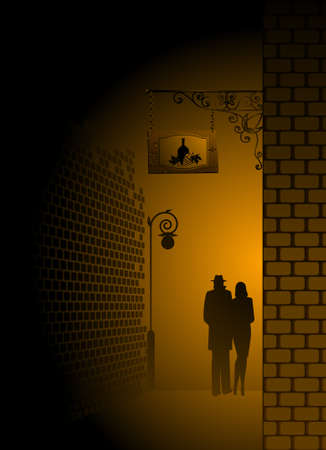 nightly: silhouette of pair is missed on a nightly city Stock Photo