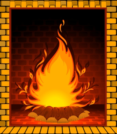 cartoon fireplace: cartoon stone fire-place with a conflagrant fire Illustration
