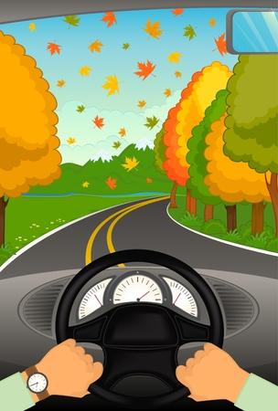 le mani dei cartoni animati tengono il timone dell'automobile.