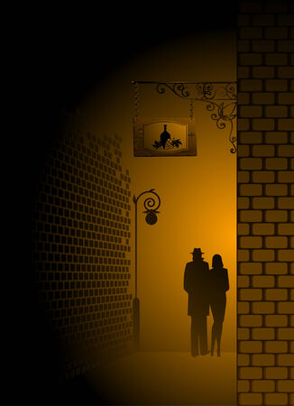plywood: silhouette of pair is missed on a nightly city Illustration