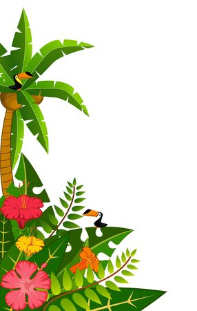 Background with tropical plants and parrots. Stock Photo