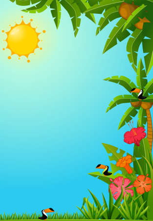 Background with tropical plants and parrots. photo