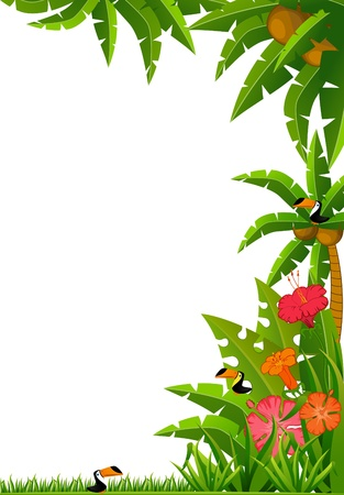 Background with tropical plants and parrots. Stock Photo - 8283401