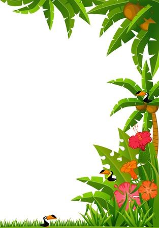 hawaiana: Fondo con plantas tropicales y los loros.