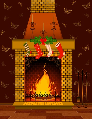 cartoon fireplace: cartoon stone fire-place with a christmas decorations