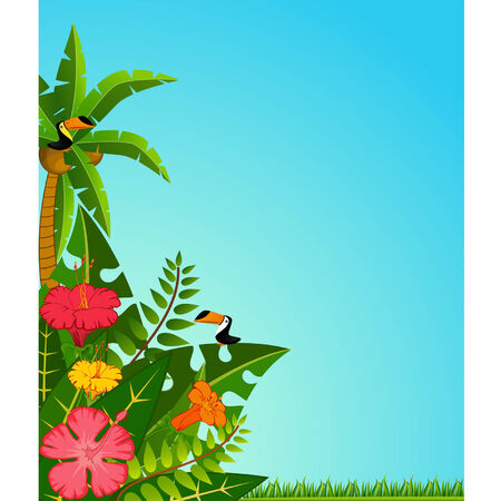 hawaii beach: Background with tropical plants and parrots. Vector
