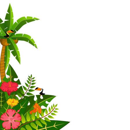 hawaiana: Fondo con plantas tropicales y los loros. Vector