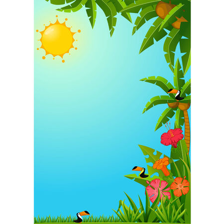 Background with tropical plants and parrots. Vector Vector