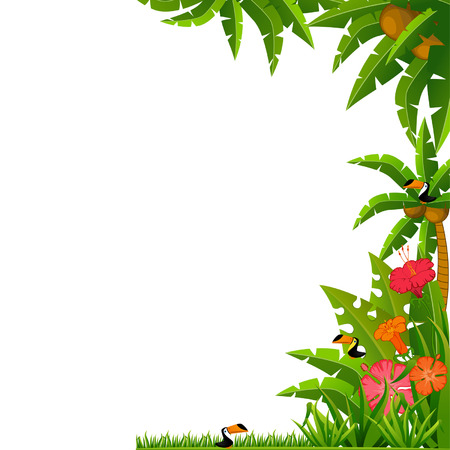 beach palm: Background with tropical plants and parrots. Vector