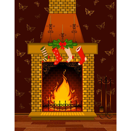 Vector cartoon stone fire-place with a christmas decorations