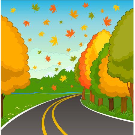 end line: El paisaje de oto�o con una carretera de asfalto