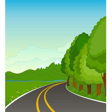 The landscape with an asphalt road Vector