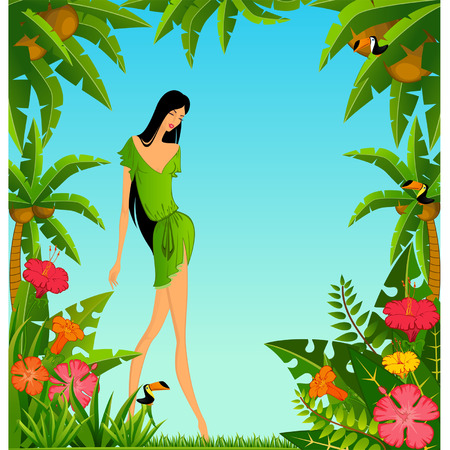 Pretty girl on island with tropical palms. Vector Vector