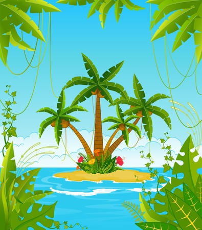 island cartoon: Small Island with tropical palms