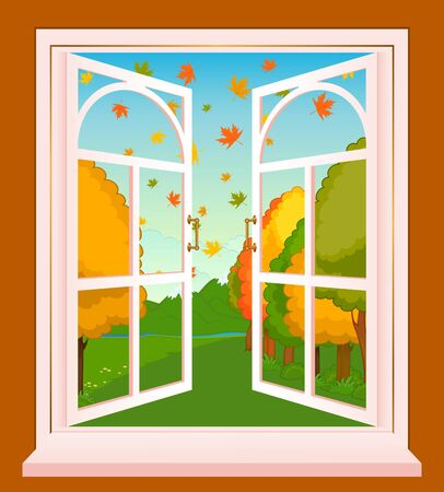 The autumn landscape in Wood window Stock Photo - 8424063