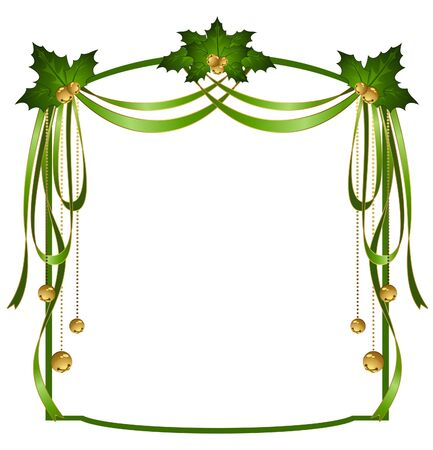 christmas ribbons decorated frame Stock Photo