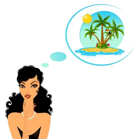 lady dreams about Island with tropical palms photo