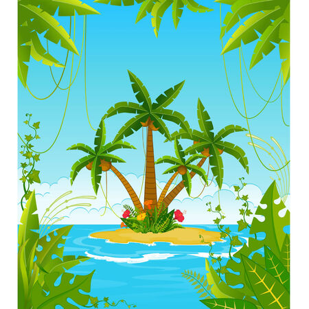 Vector Small Island with tropical palms