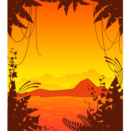 Small Island with tropical palms Stock Vector - 8480923