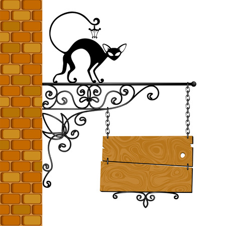 placards: forged signboard with a black cat is isolated  Illustration