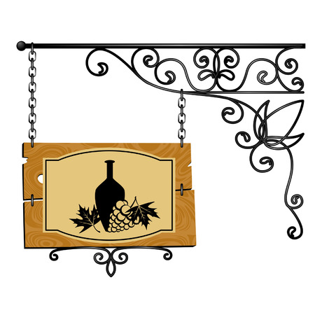 old fashioned: forged signboard is isolated on a white background Illustration