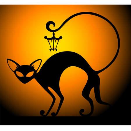 undomesticated cat: black cat Illustration