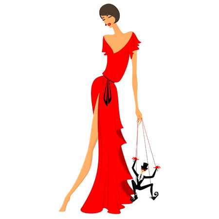beautiful lady in a red dress Stock Illustratie