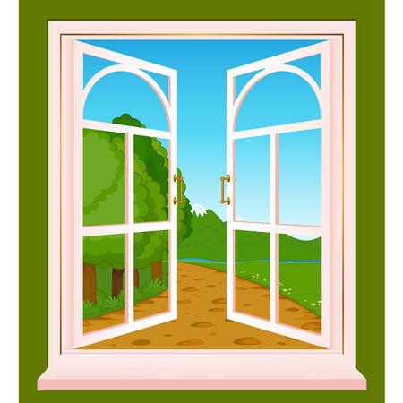 The summer landscape in Wood window