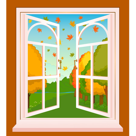 The autumn landscape in Wood window. Vector Stock Vector - 8461165