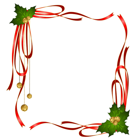 golden frames: Vector christmas ribbons decorated frame
