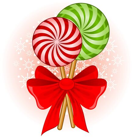 Christmas candy cane decorated bow Stock Photo