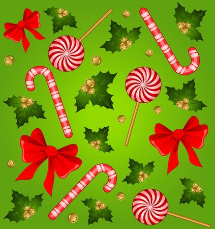 candycane: Christmas candy cane decorated bow Stock Photo