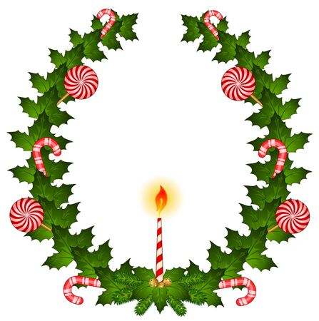 chaplet: Christmas chaplet with candy cane and candle Stock Photo