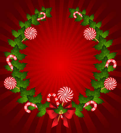 chaplet: Christmas chaplet with candy cane decorated bow Stock Photo