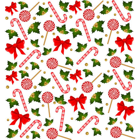 Christmas candy cane decorated bow Vector