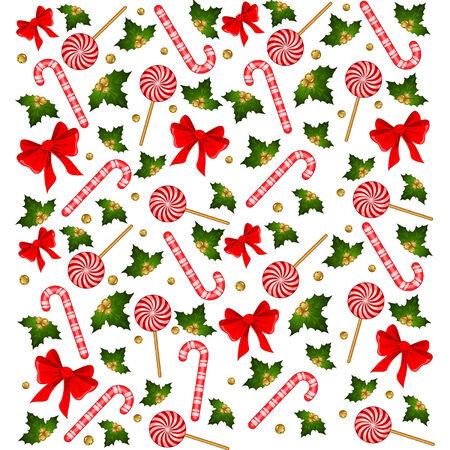 candycane: Christmas candy cane decorated bow Illustration