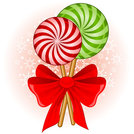 cane: Christmas candy cane decorated bow Illustration