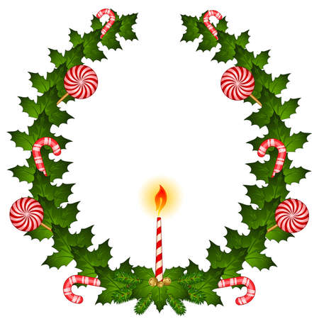 chaplet: Christmas chaplet with candy cane and candle Illustration