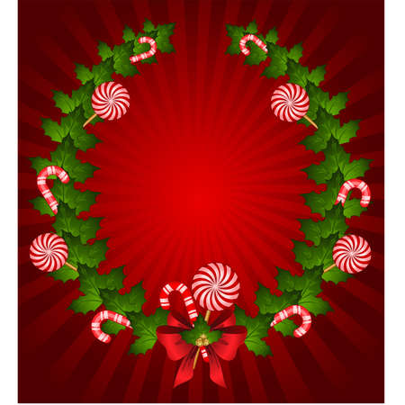chaplet: Christmas chaplet with candy cane decorated bow Illustration