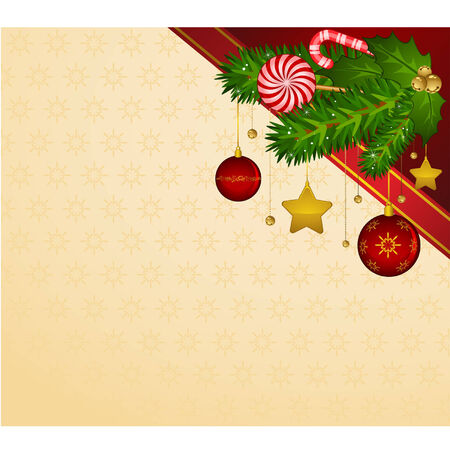 Christmas decoration with candy cane and bolls Vector