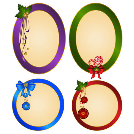 candycane: Set of Christmas backgrounds with bolls Illustration